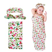 Play Tailor Baby Floral Swaddle Blanket, Newborn Receiving Blankets with Headband Set
