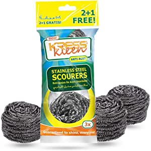 KRESS Kleen Stainless Steel Scourers (2+1 Offer Pack)