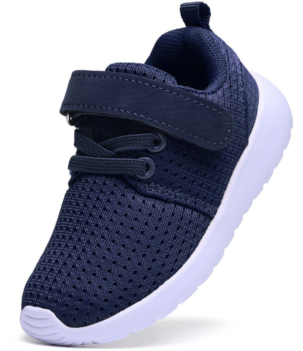 DADAWEN Boy's Girl's Casual Light Weight Breathable Strap Sneakers Running Shoe Navy US Size 7.5 M Toddler