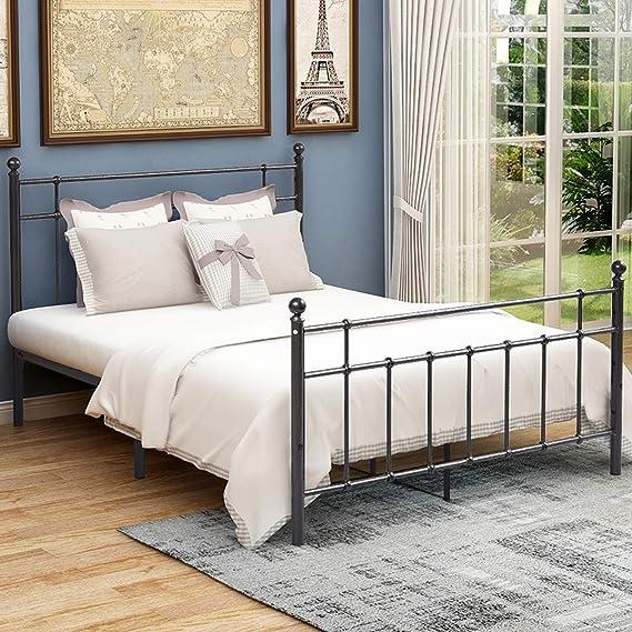 Plataforma de estructura de cama Queen de metal con cabecero de acero y estribo, base de colchón redondo de hierro negro, estilo moderno sin somier