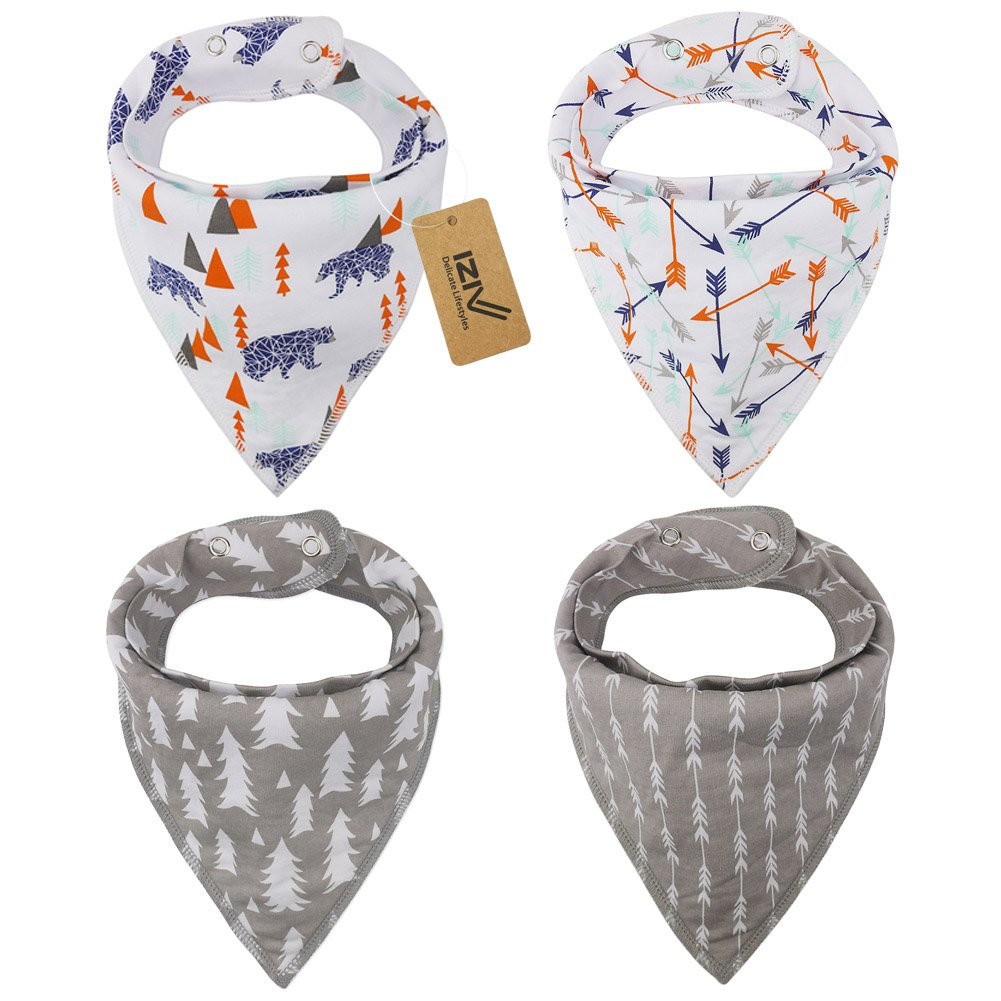 iZiv 4 PACK Baby Bandana Drool Bibs with Adjustable Snaps, Absorbent Soft Cotton Lining 0-2 Years (Color-4) Dlife FDTZN51