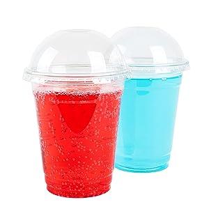 GOLDEN APPLE, 12oz 30sets. Clear Plastic Cups with Dome lids No Hole, Parfait Cups, Dessert Cups.