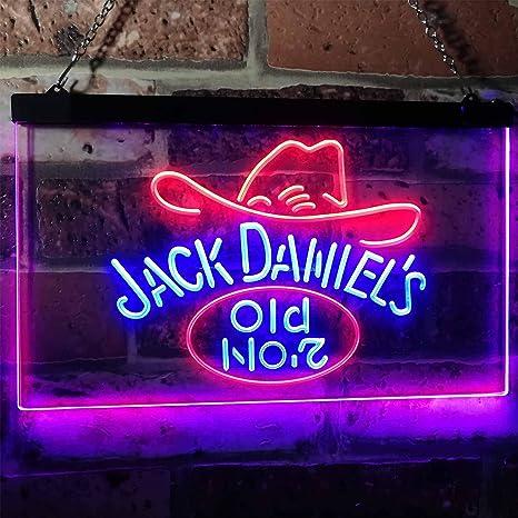 ZAKAKU Jack Daniels Jack Daniels Old No. 7 Hat Design Bar Two Color LED Neon Sign Blue and Red w16 x h12