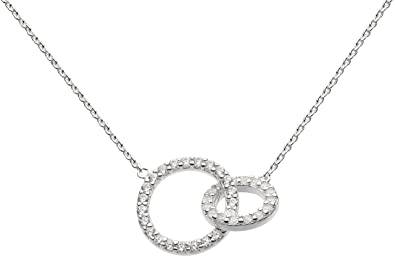Dew Sterling Silver and Cubic Zirconia Double Link Necklace of Length 44.7cm EMUJ1h5s