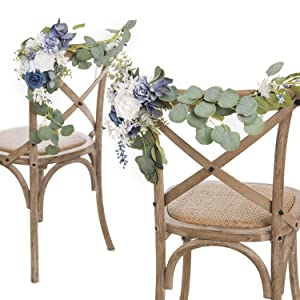 Ling's moment Wedding Decoration for Chair Pew Aisle Set of 2 for Blue Bridal Shower Flower Arrangements Rehearsal Dinner Decoration