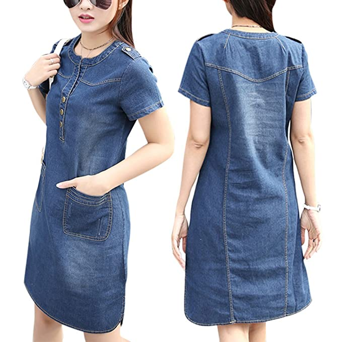 Yiitay Summer Women Dress Plus Size Jeans Denim Dress Casual Office Jeans Dress Vestidos Robe Party Dress at Amazon Womens Clothing store: