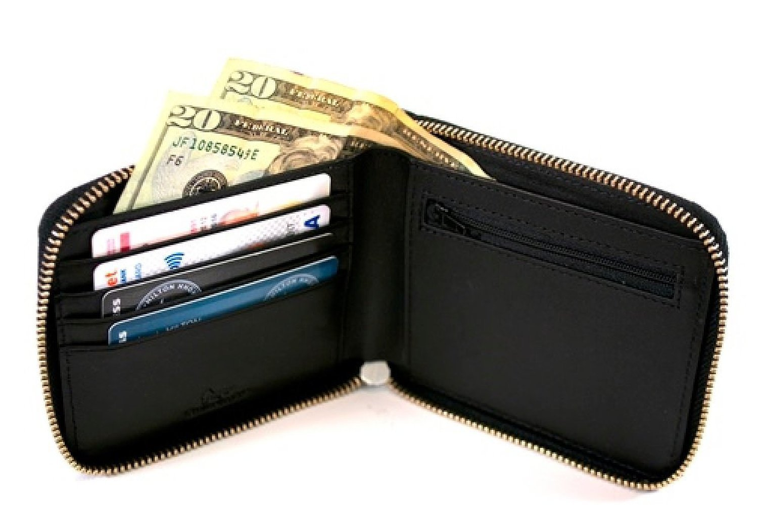 Royce Leather RFID Blocking Zip Around Wallet in Saffiano Leather, Black by Royce Leather