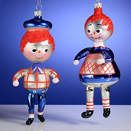 De Carlini Raggedy Ann and Raggedy Andy Italian Mouthblown Glass Christmas  Ornaments Set of 2 - Amazon.com: De Carlini Raggedy Ann And Raggedy Andy Italian