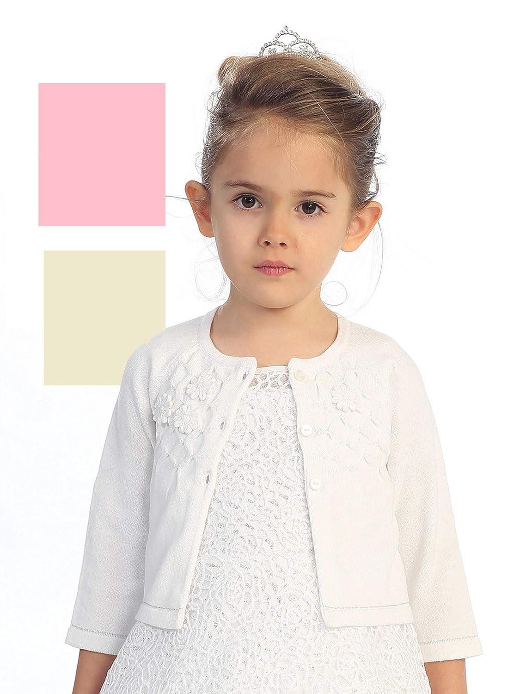 Girls Pink Flower Applique Adorned Cotton Long Sleeve Stylish Bolero 2-8
