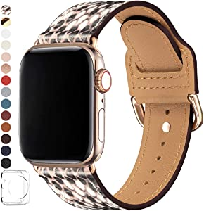 POWER PRIMACY Bands Compatible with Apple Watch Band 38mm 40mm 42mm 44mm, Top Grain Leather Smart Watch Strap Compatible for Men Women iWatch Series 6 5 4 3 2 1,SE (Snake Print/Gold, 42mm/44mm)
