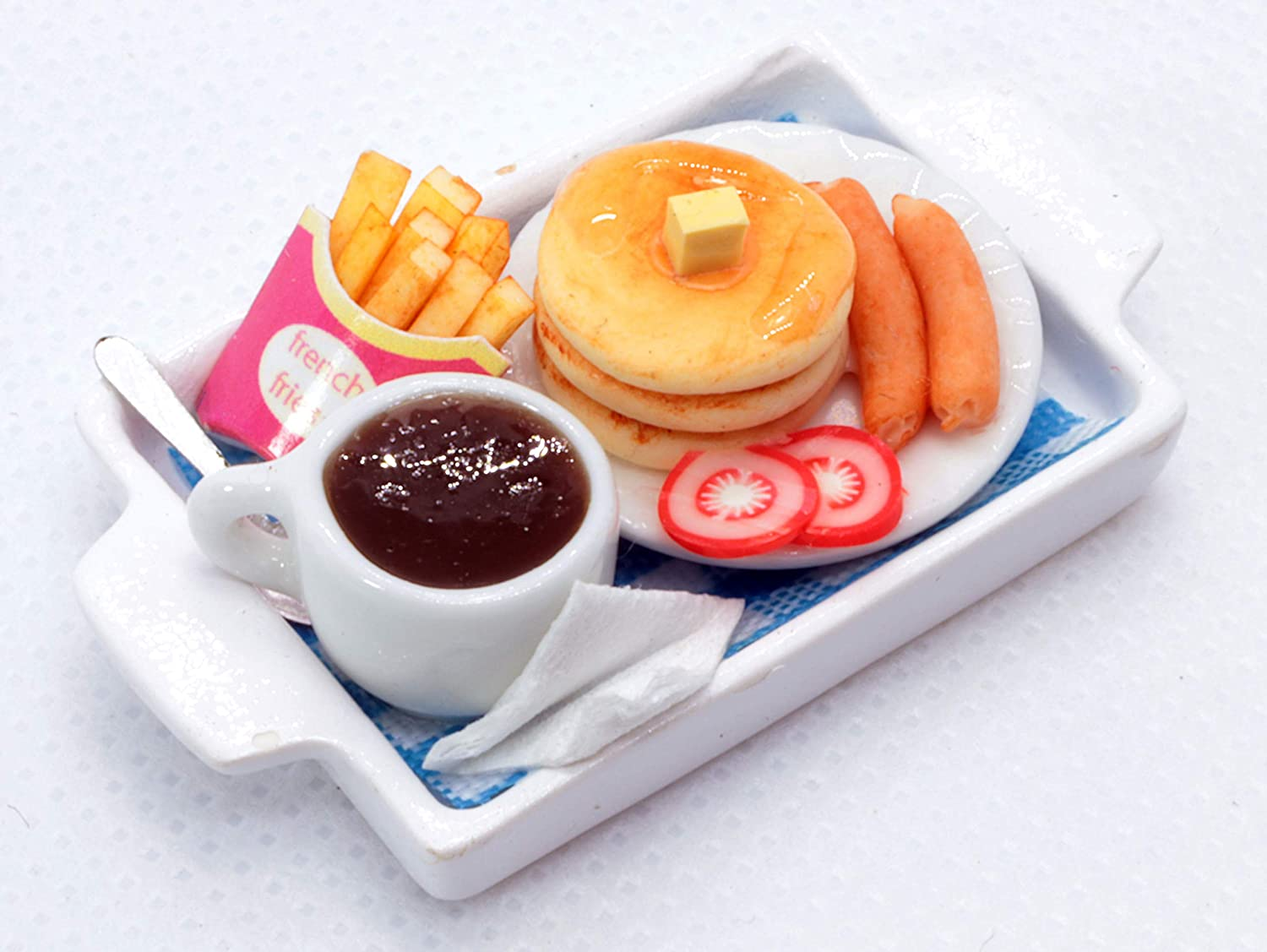 ThaiHonest Dollhouse Miniature Food Set Pancake with Sausage,French Fries and Coffee ,Tiny Food Collectibles