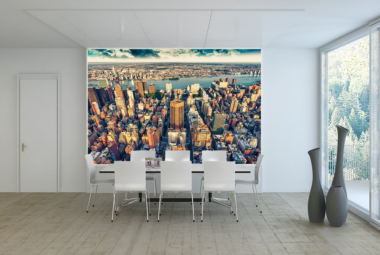 New York Skyline Photo Wallpaper - Sunset Over Manhattan Mural - XXL New York Wall Decoration 55 Inch x 39.4 Inch/ 140 cm x 100 cm