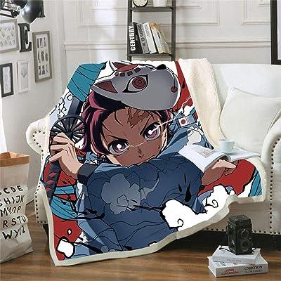 Movies Watching Blanket Anime Demon Slayer Print Double Velvet Sofa Sherpa Blanket for Beds Warm Fleece Travel Blanket Quilt (130150cm(50''x60''),Style-3): Home & Kitchen