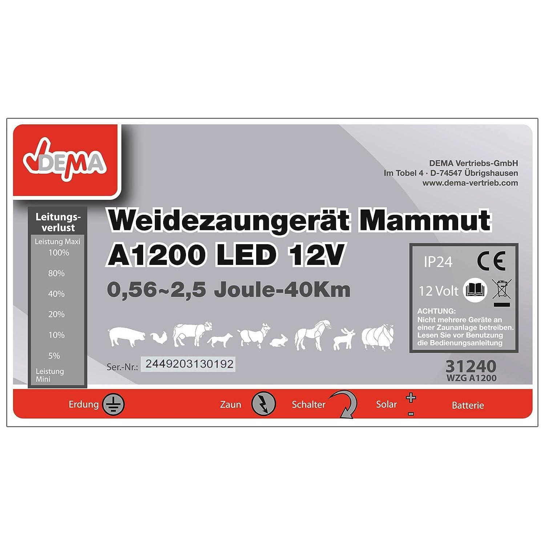 DEMA Weidezaungerät Mammut A1200 LED 12V: Amazon.de: Baumarkt