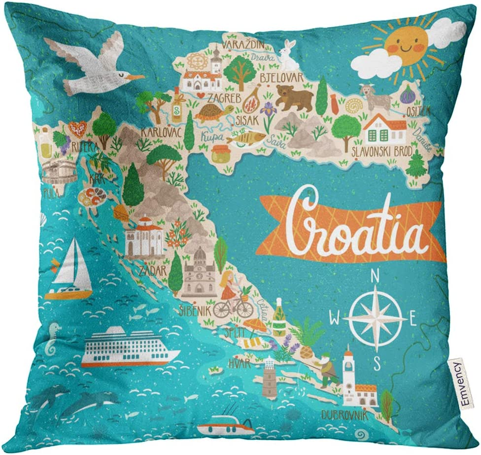 Golee Throw Pillow Cover Drawing Map of Croatia Travel with Croatian Landmarks People Food and Plants Sea Symbol Decorative Pillow Case Home Decor Square 20x20 Inches Pillowcase
