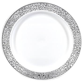 Gourmet Home Products 12 Count Premium Reusable Heavyweight Plastic Dinner Plates 10.25\u0026quot; White  sc 1 st  Amazon.com & Amazon.com: Gourmet Home Products 12 Count Premium Reusable ...