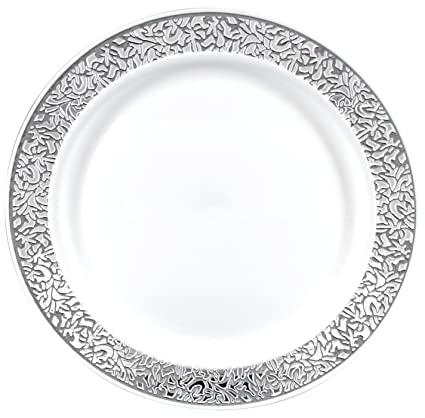 Gourmet Home Products 12 Count Premium Reusable Heavyweight Plastic Dinner Plates 10.25u0026quot; White  sc 1 st  Amazon.com : gourmet dinner plates - pezcame.com
