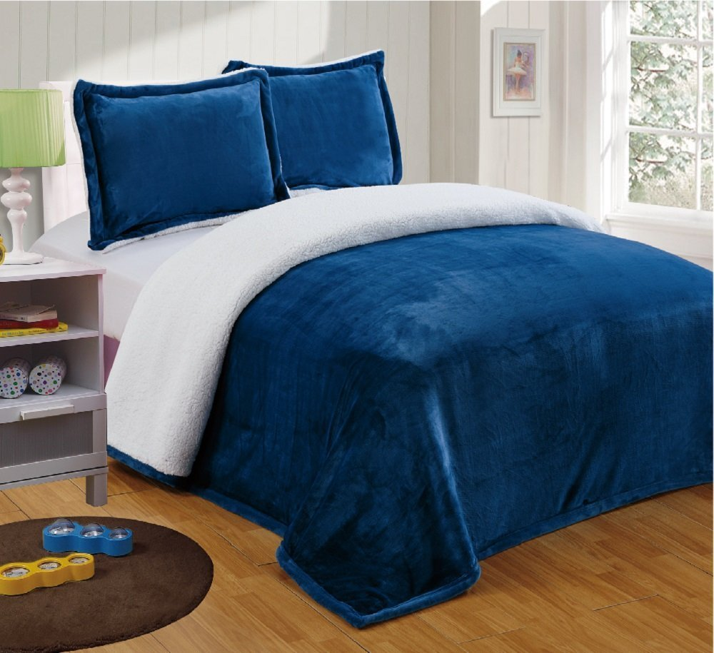 Chezmoi Collection Micromink Sherpa Reversible Throw Blanket Twin, Navy B00RY6VS4A