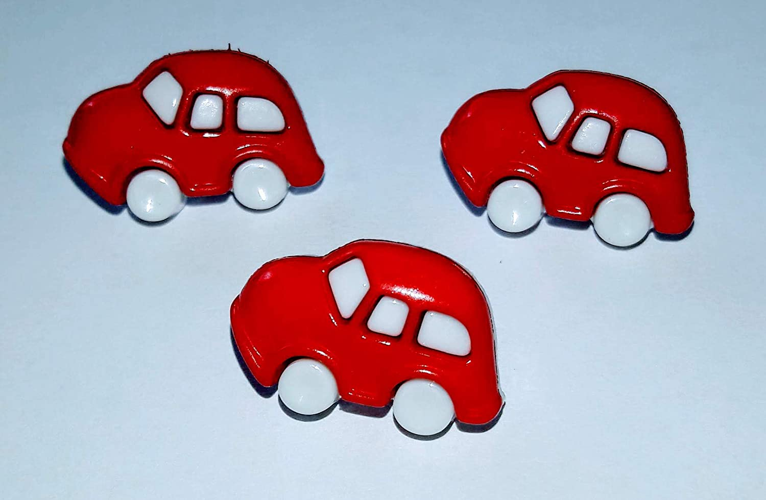 10 X Toy Car Buttons Red & White Or Blue & White 20mm X 12mm Shank On Back (Royal blue) Always Knitting and Sewing