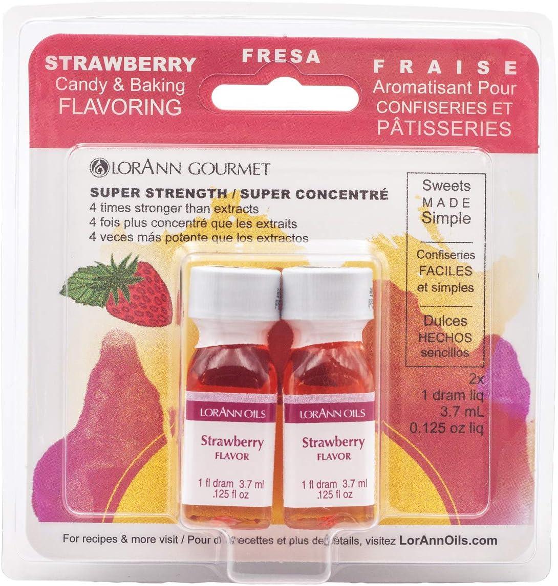LorAnn Strawberry Super Strength Flavor, 1 dram Bottle (.0125 fl oz - 3.7ml) - Twin Pack Blistered