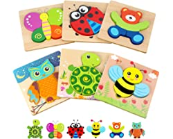 Toddler Puzzles, Wooden Jigsaw Animals Puzzles for 1 2 3 Year Old Girls Boys Toddlers, Educational Preschool Toys Gifts for C