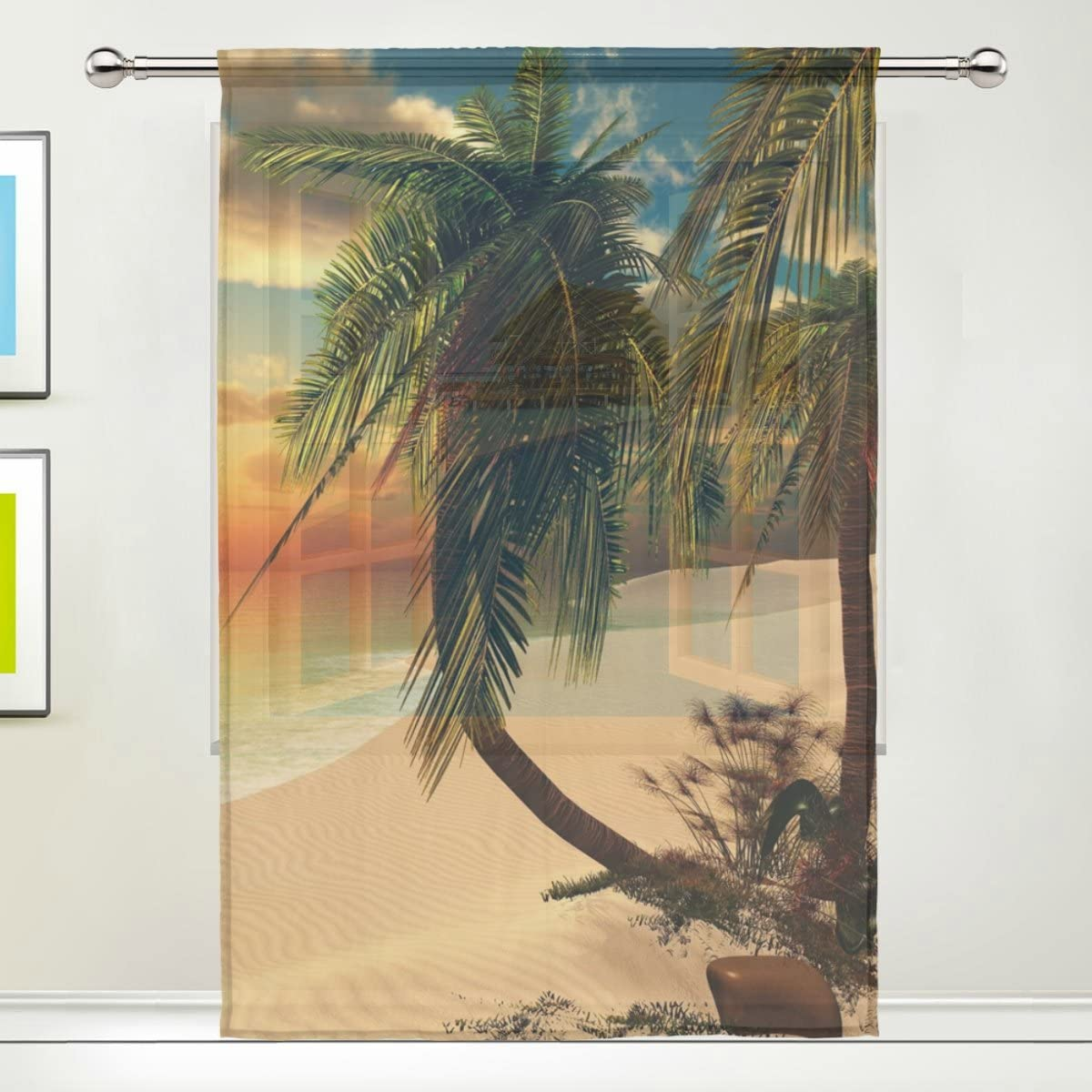 XMCL Window Sheer Curtains Sunset in The Tropical Beach Decorative Extra Wide for Living Room Bedroom Kitchen Window Voile Panel 78-84 Inch Long