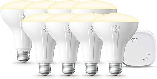 Sengled Smart light Bulb Starter Kit, Smart Bulbs that Work with Alexa Google Home, Smart Bulb BR30 Alexa Light Bulbs, Smart LED Soft White Light, 9W 65W Equivalent , 8 Smart Bulbs 1 Smart Hub