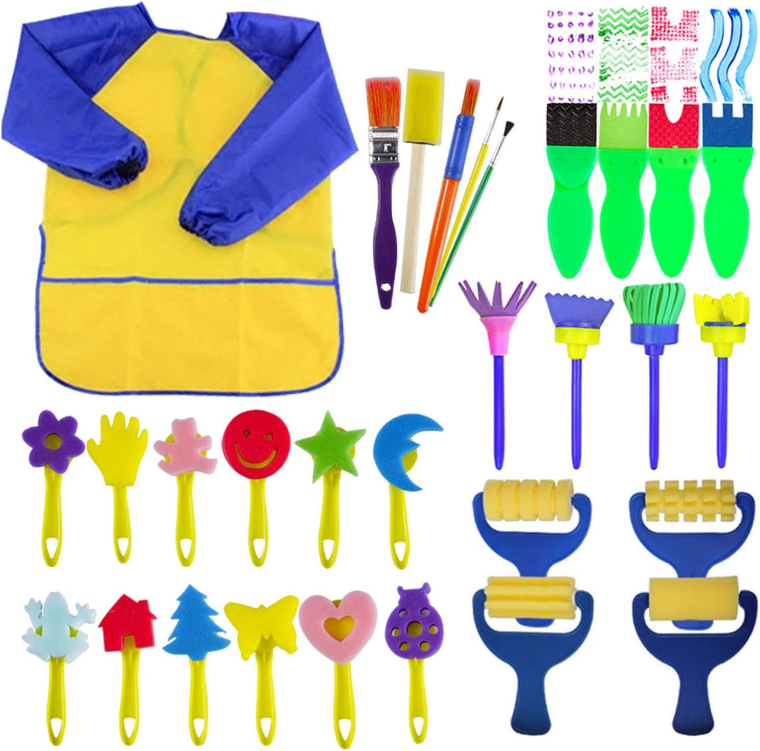 Sisenny Paint Sponges for Kids 27PCS Painting Brushes Kit for Toddlers Early DIY Learning Include Foam Brushes Art Crafts Sponge Brush Flower Pattern Brush