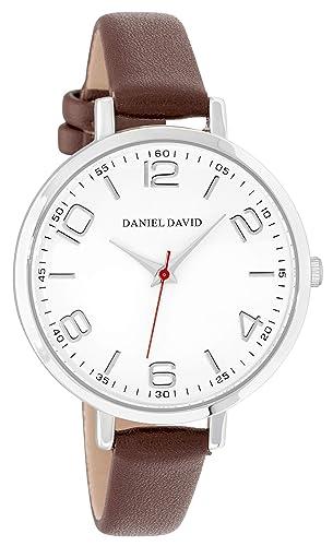 Daniel David - Reloj de Pulsera para Mujer, Moderno, Plateado, marrón y Piel sintética, fácil de Leer, DD17102: Amazon.es: Relojes