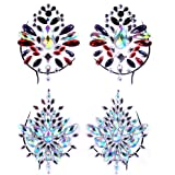 Lady Up 2 PCS Body Breast Jewels for Women, Crystals Rhinestones Mermaid Sticker Temporary Tattoos Set Face Chest…