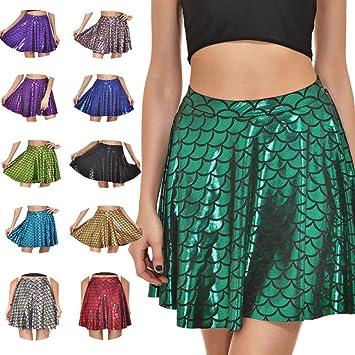 Belldan Escamas de Pescado Faldas Faldas de Mujer Plisado Imprimir ...
