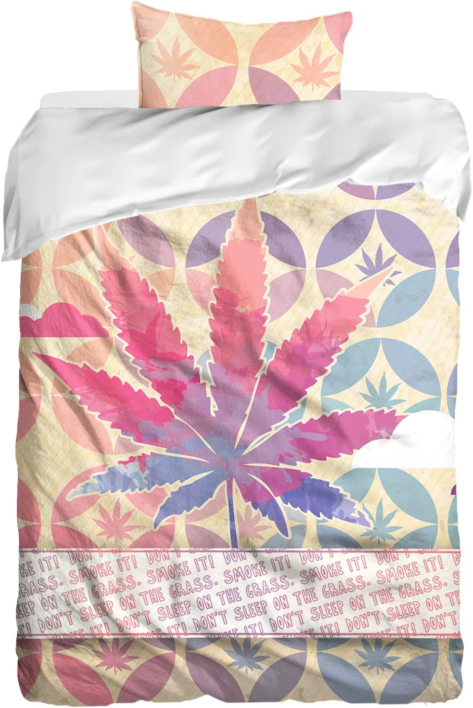 "Cool Bedding Colorful Marijuana Bedding Set by Marijuana Upgrade to a Comforter. Weed Cover. Marijuana Leaf. Mary Jane Duvet Cover Set. Pot Head Beddings (Single 55""x80"")"