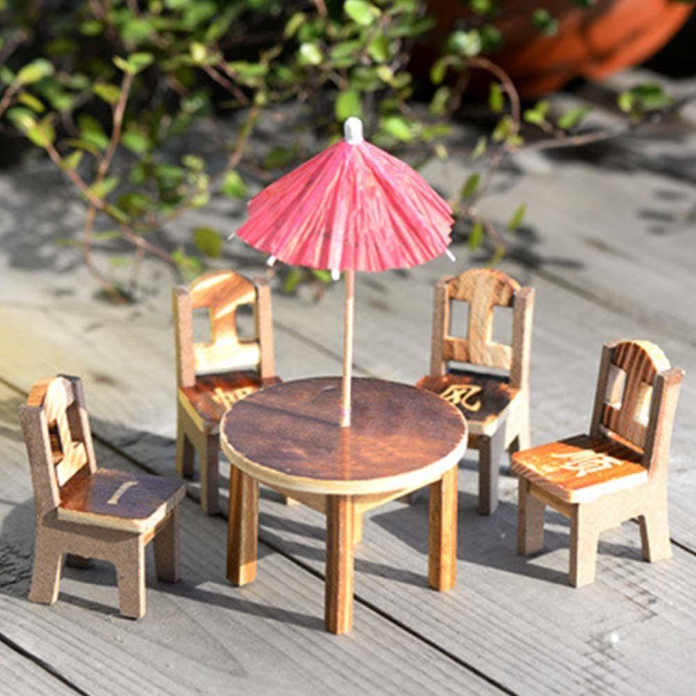 KJH21 1 Lot Mini Craft Ensemble de chaises de Parapluie, Mini en Bois Ensemble de Meubles de Table Chaises, DIY Fée en Bois Chaise de Bureau Parapluie Dollhouse Jardin Paysage Décor