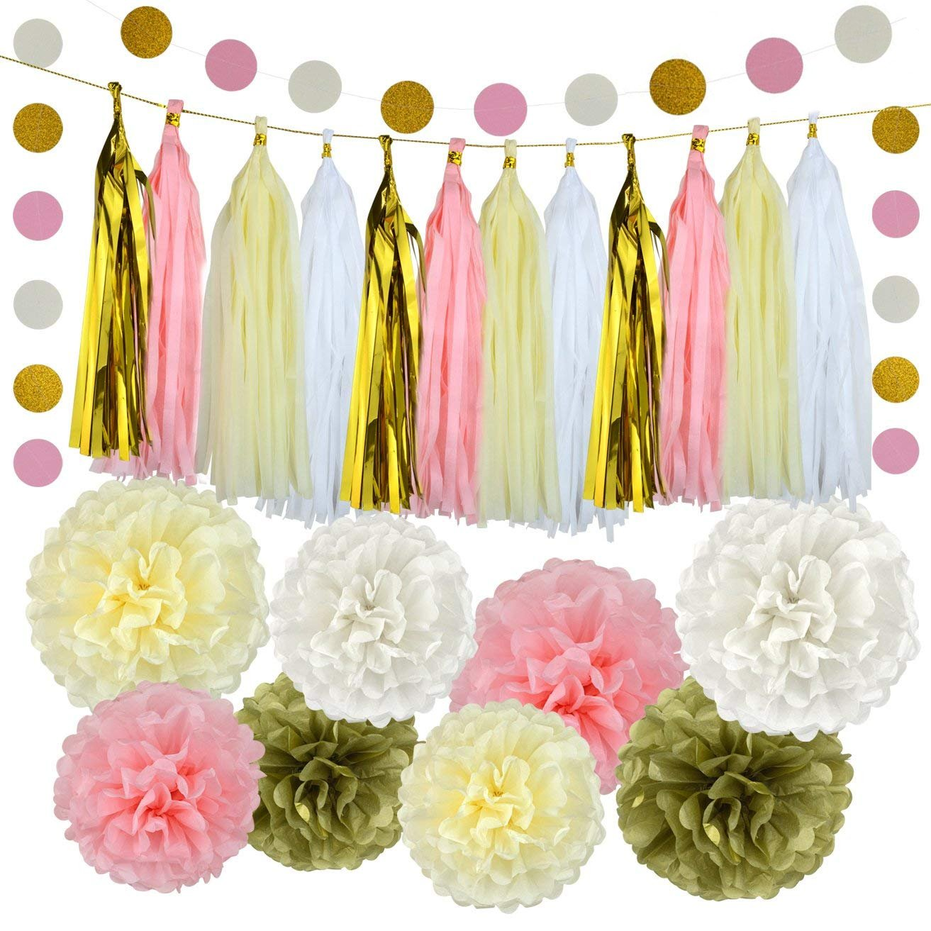 Pistha 30 PCS Bachelorette Party Decorations Party Decoration Paper 8 PCS Tissue Paper Pom Pom 20 PCS Tissue Tassel 2 PCS Garland Polka Dot Paper with Some Golden Lines 4336867201