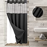 """River Dream No Hooks Required Waffle Weave Shower Curtain with Snap in Liner (Black, Stall 54""""x80"""")"""