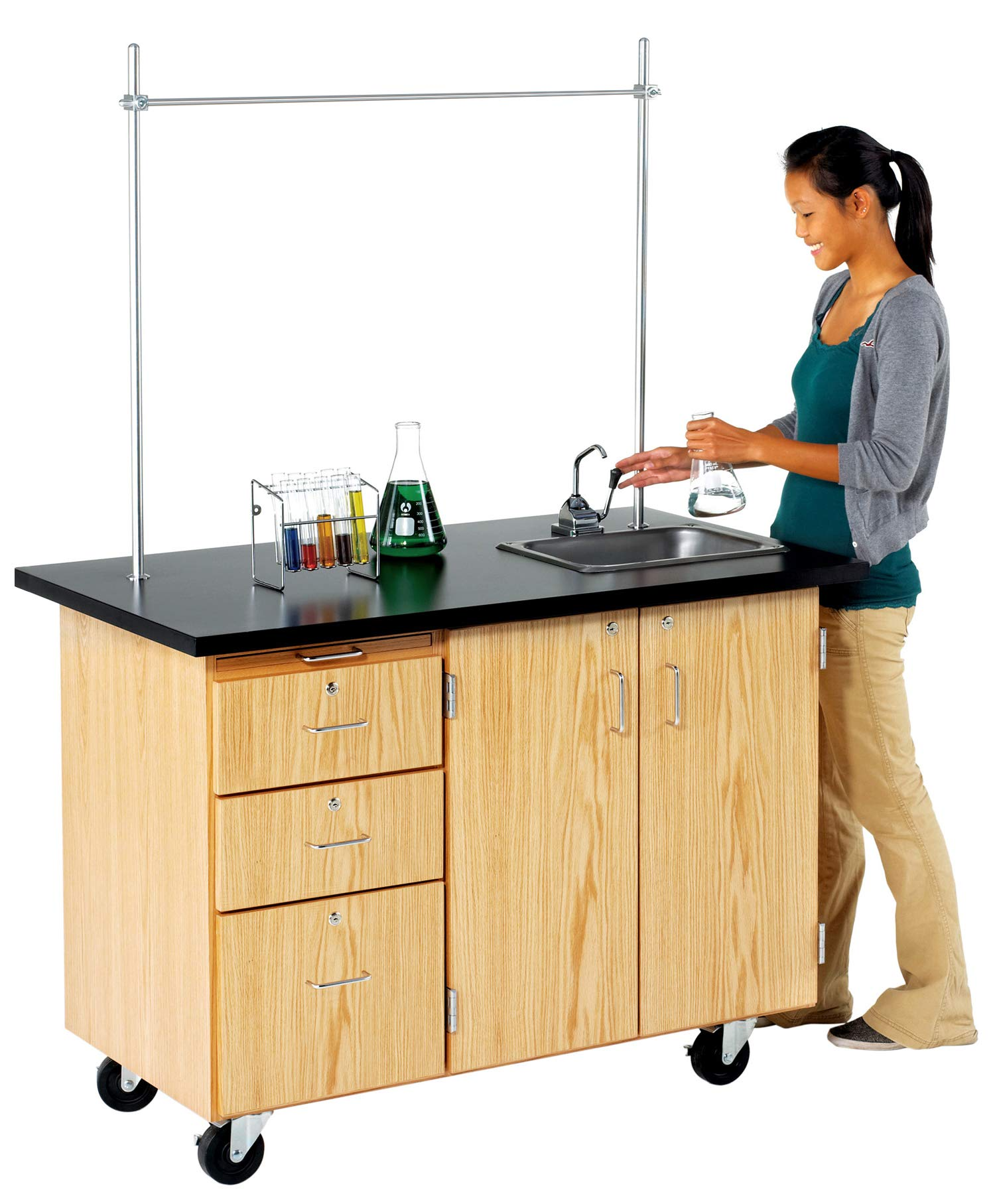 Diversified Woodcrafts 4332K Solid Oak Wood Mobile Instructor's Desk with Storage, ChemGuard Top, 48'' width, 36'' height, 28'' depth