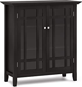 SIMPLIHOME Bedford SOLID WOOD 39 inch Wide Rustic Medium Storage Cabinet in Hickory Brown, with 2 Tempered Glass Doors, 4 Adjustable Shelves
