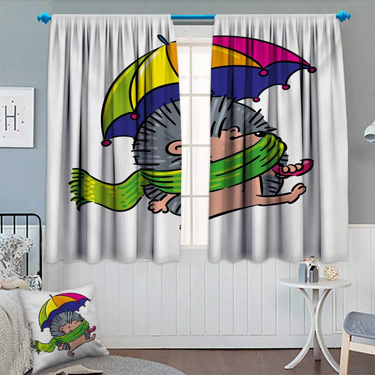 """Chaneyhouse Hedgehog Waterproof Window Curtain Smiling Animal with Spikes and Scarf Rainbow Colored Umbrella Walking Winter Theme Blackout Draperies for Bedroom 63"""" W x 63"""" L Multicolor"""