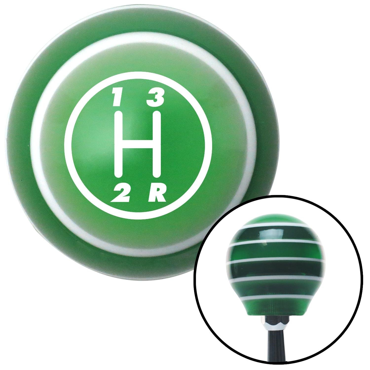 White 3 Speed American Shifter 126558 Green Stripe Shift Knob with M16 x 1.5 Insert