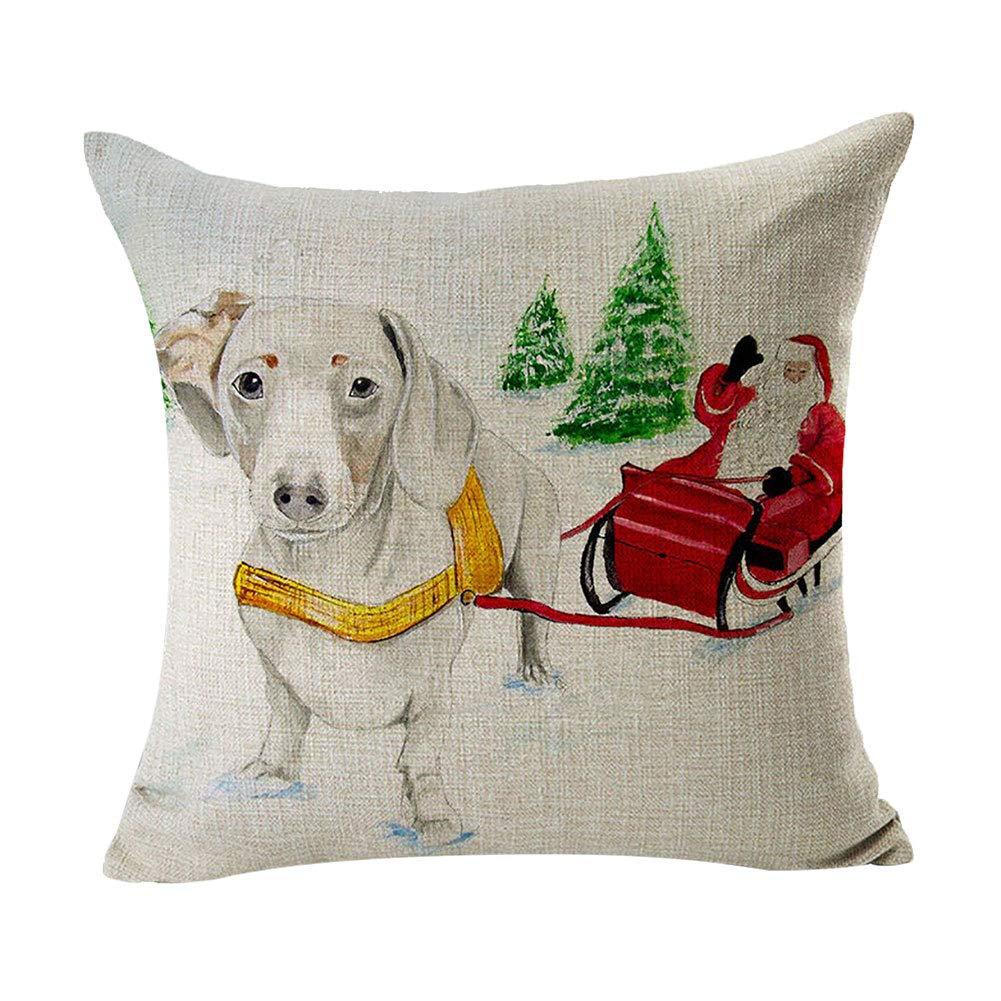 Vimbhzlvigour Funda de coj/ín con dise/ño de Perro de Navidad
