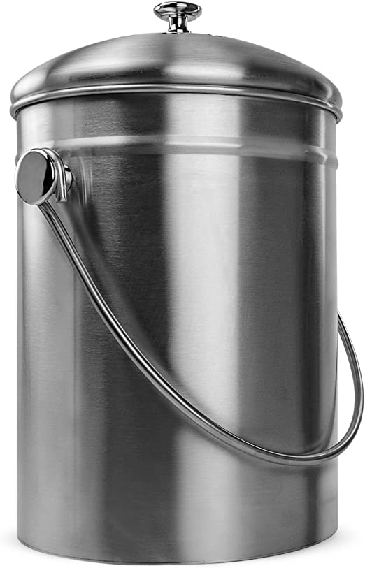 Amazon.com: Innovador Home Acero inoxidable Compost Bin Can ...