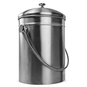 Innovative Home Stainless Steel Compost Bin Can with Double Filtered Lid, 1.3 Gallon
