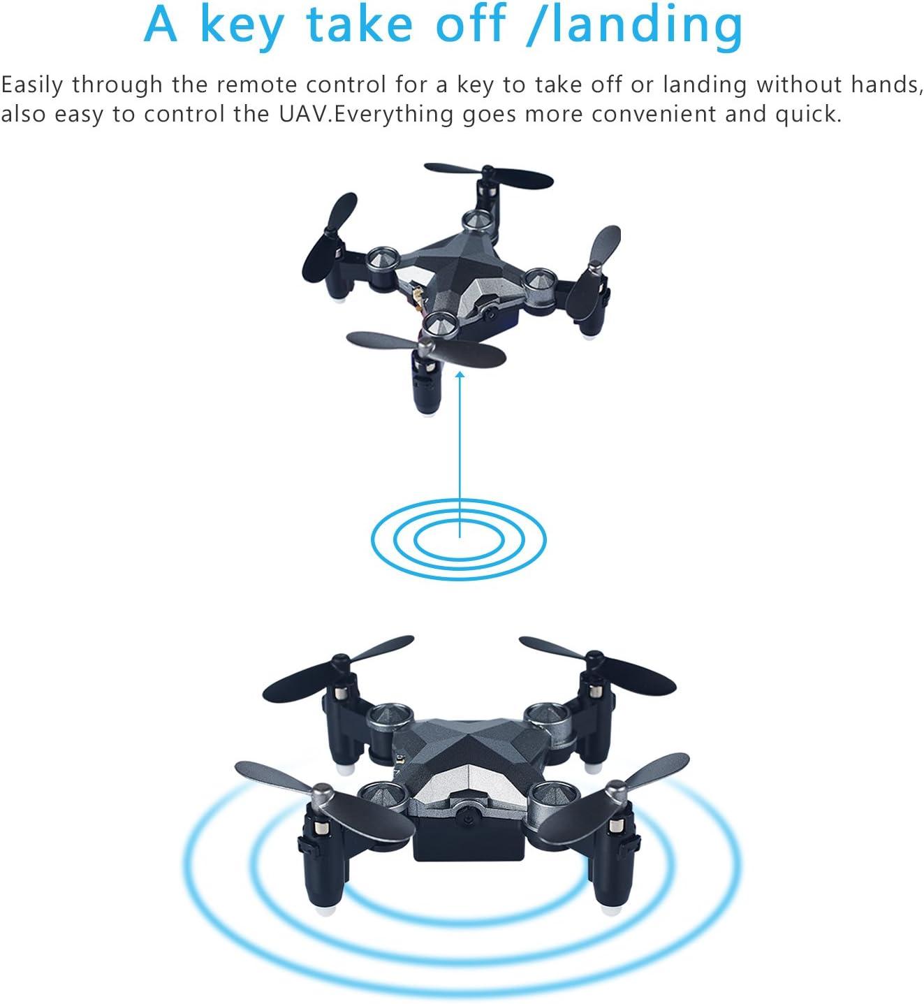 Quadricopt/ère RC Drone de poche dot/é dune cam/éra WiFi FPV /Étui de rangement inclus Cadea Manette de contr/ôle 2,4 G Portable et pliable T/él/écommande de style montre Structure /à 4 axes CH4