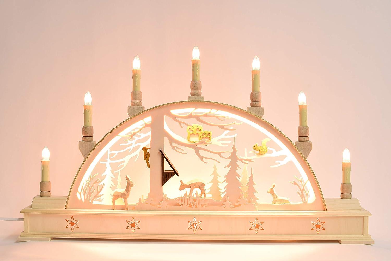 Schwibbogen Wald mit Sockel - LED Beleuchtung 640 10S Echt Erzgebirge®