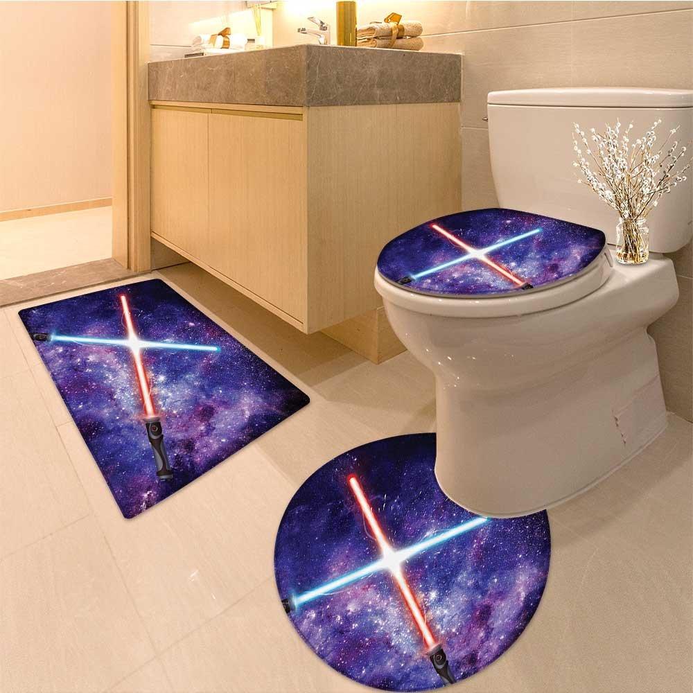 high-quality 3 Piece Anti-slip mat setIllustration of Light Swords in Battle Starry Sky Fantastic War Themed Pattern Fabric Non Slip Bathroom Rugs
