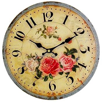 Amazon.de: Vintage Wanduhr Rosen Postage - 28cm - Uhr für Küche Flur ...