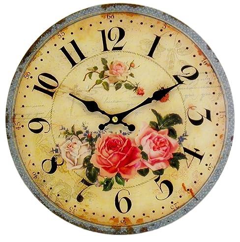 Amazon.De: Vintage Wanduhr Rosen Postage - 28Cm - Uhr Für Küche