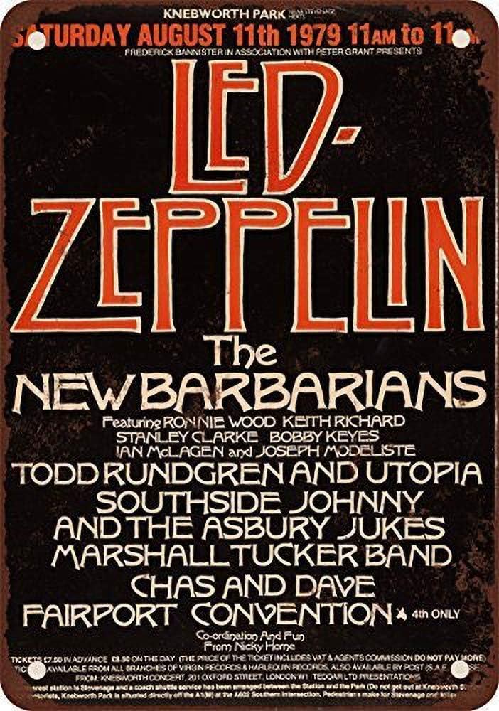Generies Led Zeppelin at Knebwth Cartel de lata Mural Retro Estilo Industrial Bar Mural Personalidad Creativa Leche T/é Tienda Barber/ía Decoraci/ón de Pared