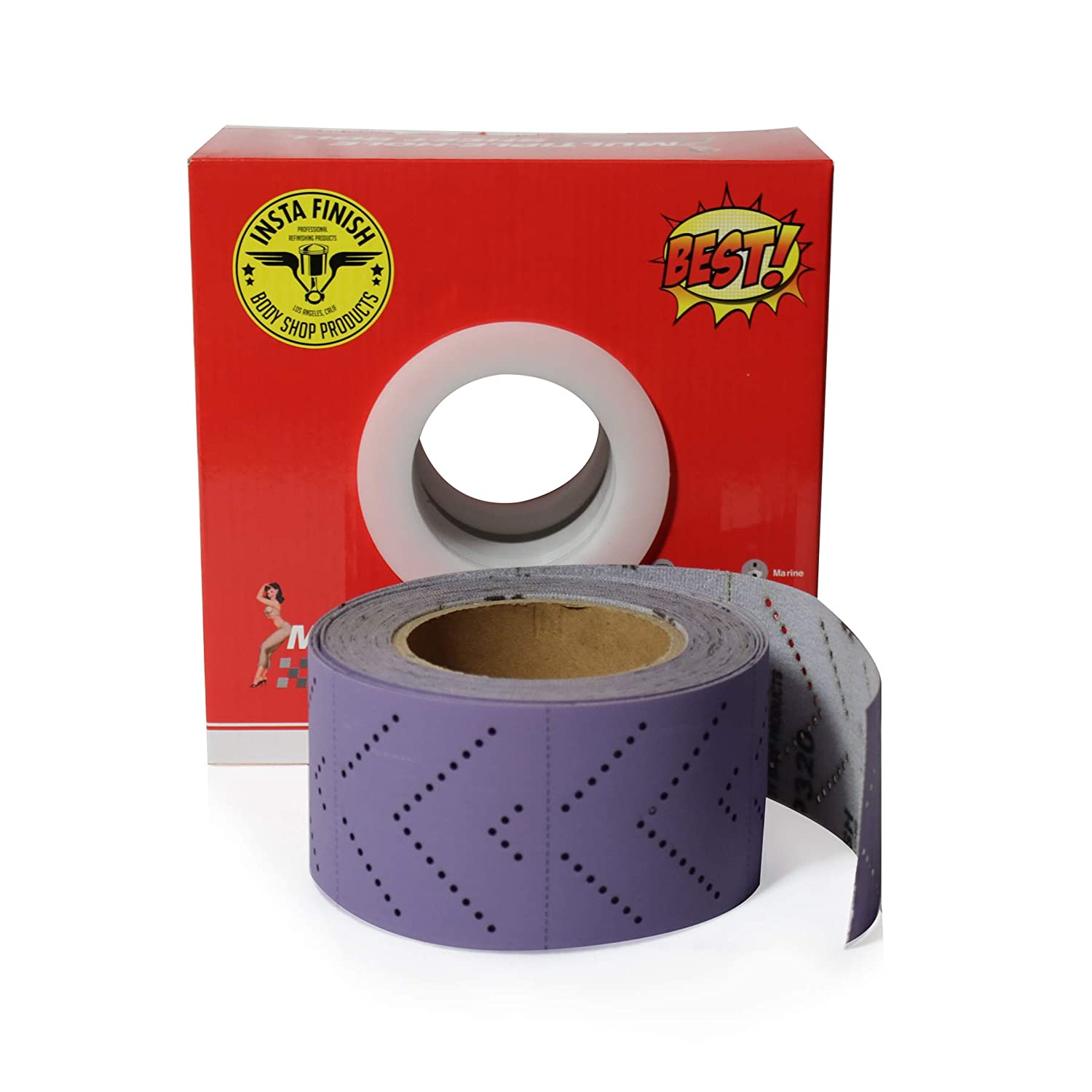 1 Roll Per Box Insta Finish Sand Paper Hook /& Loop Long Board Continuous roll 80 Grit