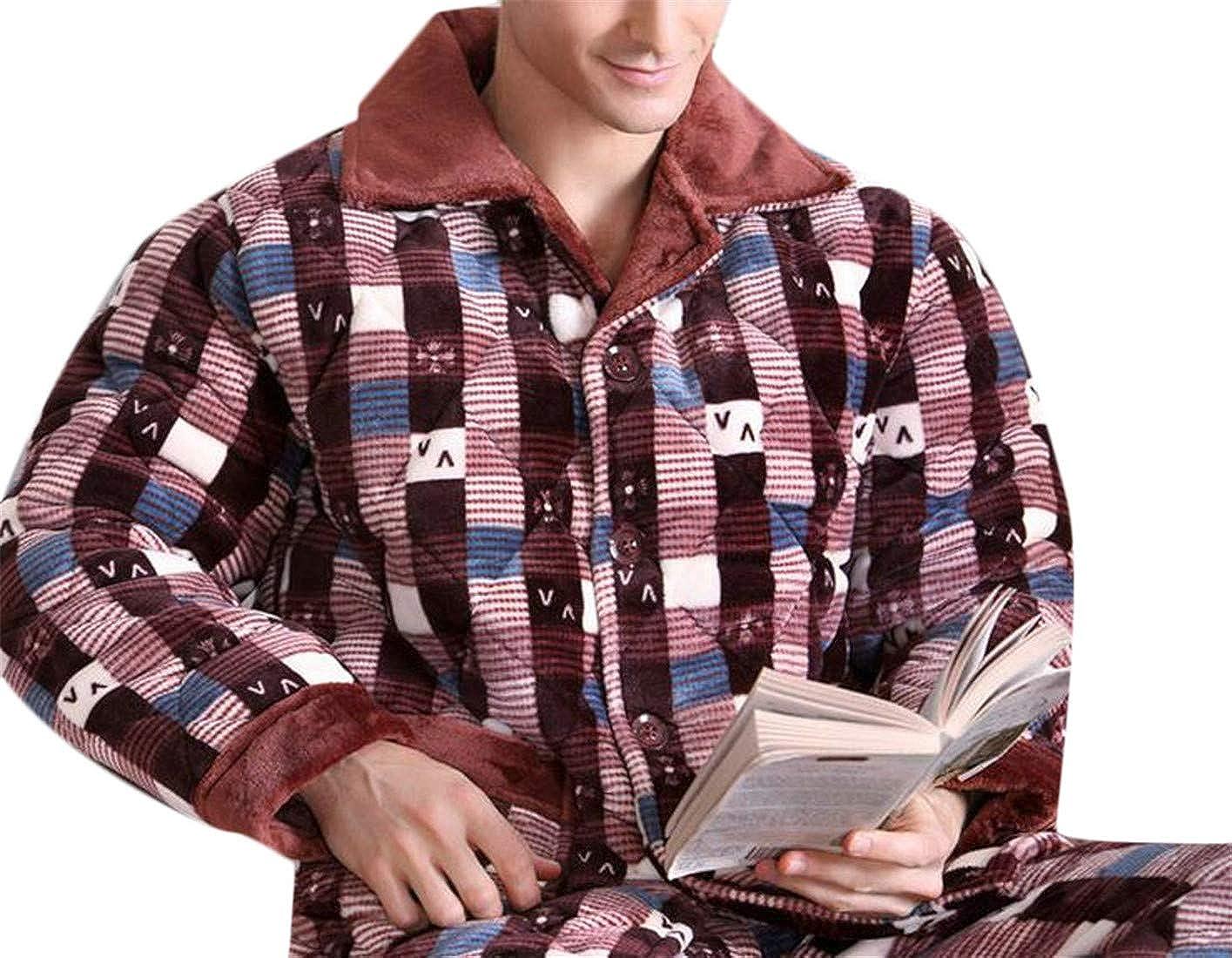 Wofupowga Mens 2 Piece Lounge Sleepwear Winter Thicken Printed Pajama Set